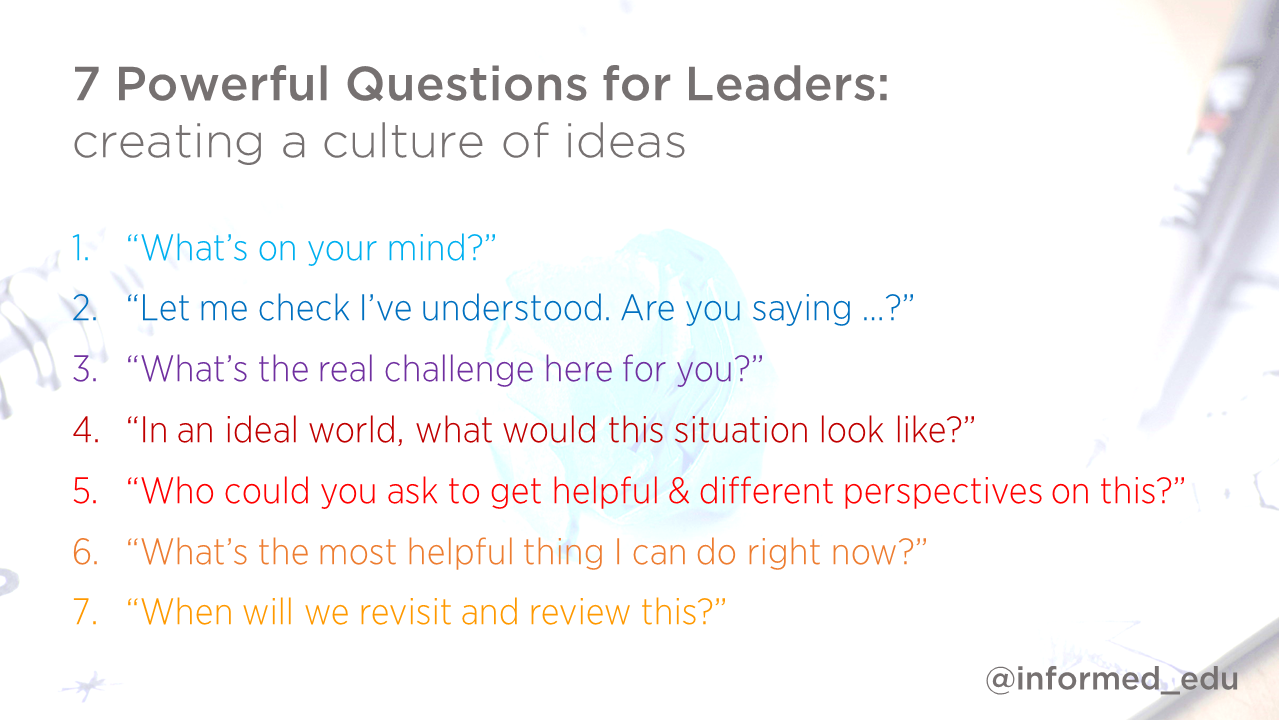 powerful questions for leaders creating a culture of ideas 7 powerful questions for leaders creating a culture of ideas david weston